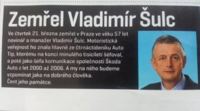 Svět motorů vzpomněl na Vladimíra Šulce